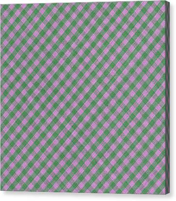 Green And Pink Checkered Diagonal Tablecloth Cloth Background Canvas Print by Keith Webber Jr