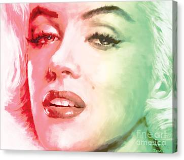 Glamor Canvas Print - Green And Red Beauty by Atiketta Sangasaeng