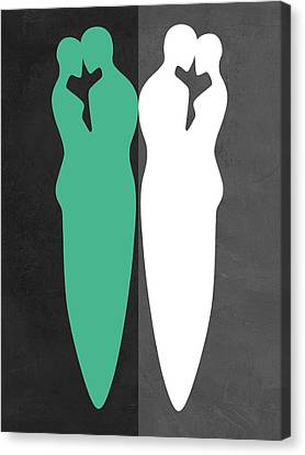 Love Making Canvas Print - Green And White Kiss by Naxart Studio