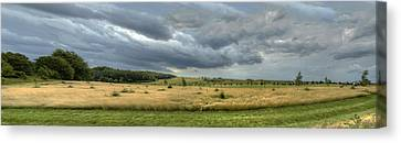 Green And Yellow Meadows At A Golfing Club In Kashubia Of Poland Canvas Print by Julis Simo