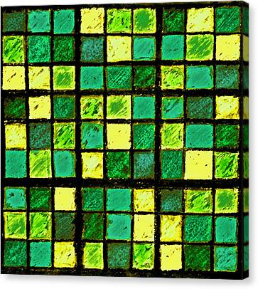 Green And Yellow Sudoku Canvas Print by Karen Adams