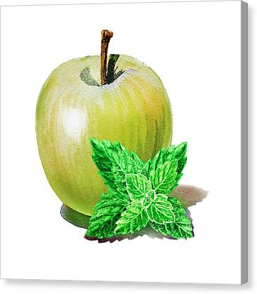 Green Apple And Mint Canvas Print by Irina Sztukowski
