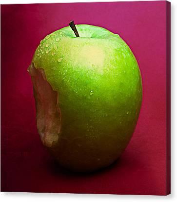 Green Apple Nibbled 2 Canvas Print
