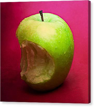Green Apple Nibbled 4 Canvas Print