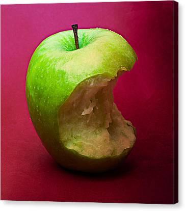 Green Apple Nibbled 5 Canvas Print