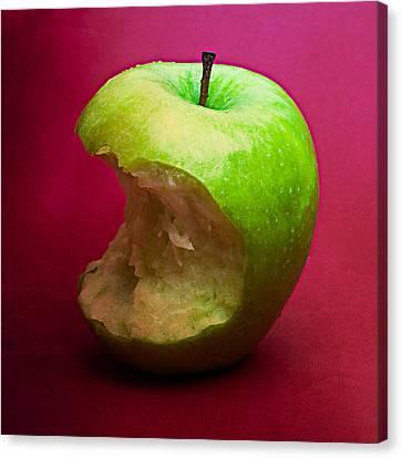 Green Apple Nibbled 6 Canvas Print