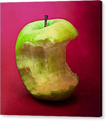 Green Apple Nibbled 7 Canvas Print