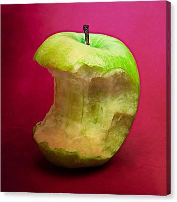 Green Apple Nibbled 8 Canvas Print