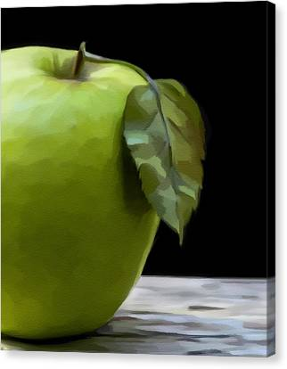 Canvas Print featuring the digital art Green Apple by Nina Bradica