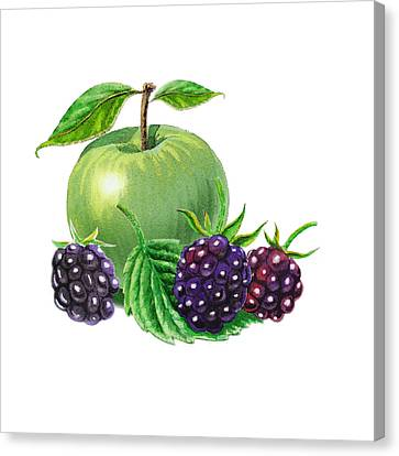 Green Apple With Blackberries Canvas Print