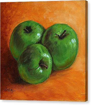 Green Apples Canvas Print by Asha Sudhaker Shenoy