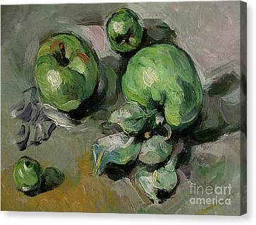 Green Apples Canvas Print - Green Apples by Paul Cezanne