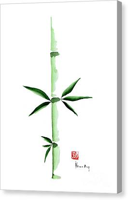 Green Bamboo Plant Grass Bamboos Tribe Woody Watercolor Painting Canvas Print