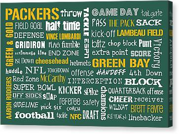 Green Bay Packers Canvas Print by Jaime Friedman