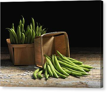 Green Beans In Baskets Quebec, Canada Canvas Print by Roderick Chen