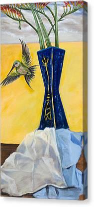 Green Bird Visits Canvas Print by Susan Culver