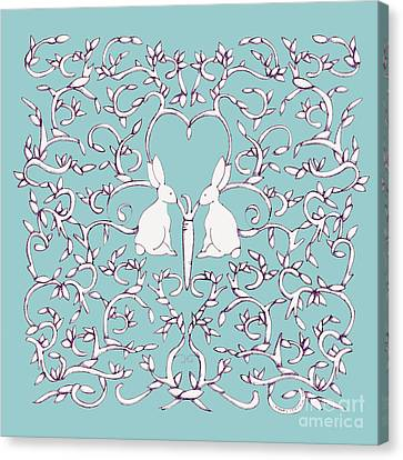 Canvas Print featuring the drawing Green Blue Rabbits Leaves by Donna Huntriss