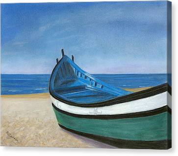 Green Boat Blue Skies Canvas Print by Arlene Crafton