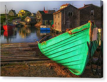 Green Boat Peggys Cove Canvas Print by Garry Gay