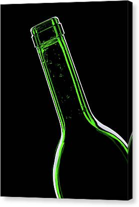 Glass Bottle Canvas Print - Green Bottle On Black Background by Wladimir Bulgar