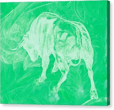 Green Bull Negative Canvas Print