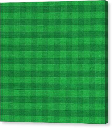 Green Checkered Pattern Cloth Background Canvas Print by Keith Webber Jr