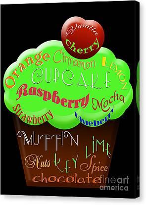 Green Cupcake Typography Canvas Print