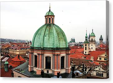 Green Dome In Prague Canvas Print