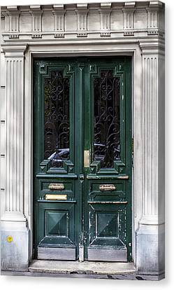 Green Door In Paris Canvas Print by Georgia Fowler