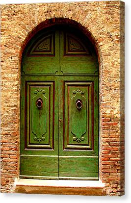 Green Door Canvas Print by Ramona Johnston