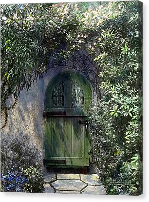 Old Time Canvas Print - Green Door by Terry Reynoldson