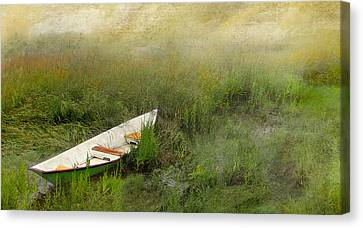 Green Dory Canvas Print by Karen Lynch