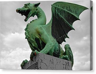 Green Dragon In Ljubljana Canvas Print by Aleksandar Hajdukovic