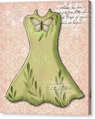 Dressing Room Canvas Print - Green Dress by Elaine Jackson