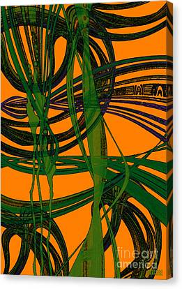 Canvas Print featuring the digital art Green Excitement by Hanza Turgul