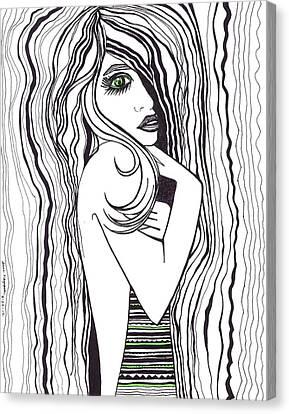 Chin On Hand Canvas Print - Green Eyed Lady by Anna Kaszupski