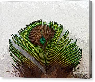 Green Feather Tip Canvas Print by Sally Simon