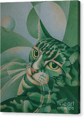 Canvas Print featuring the painting Green Feline Geometry by Pamela Clements