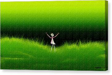 Green Field Canvas Print by Asok Mukhopadhyay