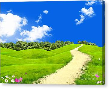Green Field Canvas Print by Boon Mee