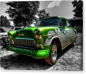 Green Flame '55 Chevy 001 Canvas Print by Lance Vaughn