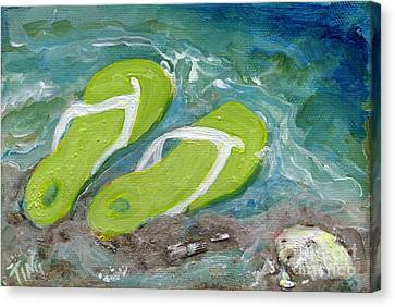 Canvas Print featuring the painting Green Fliip Flops On Tybee by Doris Blessington