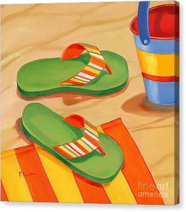 Beach Pails Canvas Print - Green Flip Flops by Paul Brent