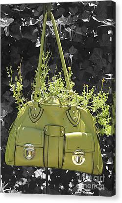 Green Flower Bag Canvas Print