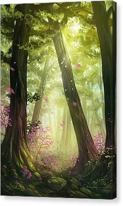 Green Forest Canvas Print by Cassiopeia Art