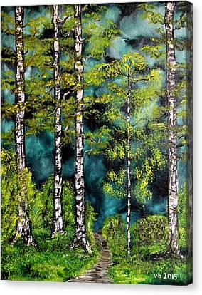 Green Forest Canvas Print by Valerie Ornstein