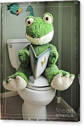 Green Frog Potty Training - Photo Art Canvas Print