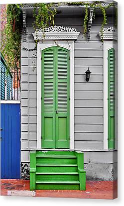 Green Front Door New Orleans Canvas Print by Christine Till