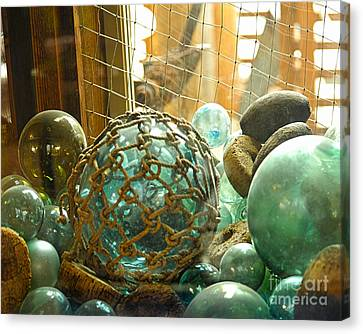 Green Glass Japanese Glass Floats Canvas Print
