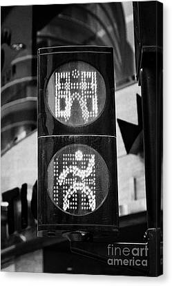 Crosswalk Canvas Print - Green Go Pedestrian Crossing Traffic Lights Countdown Clock Crossing Road In Andorra La Vella Andorr by Joe Fox